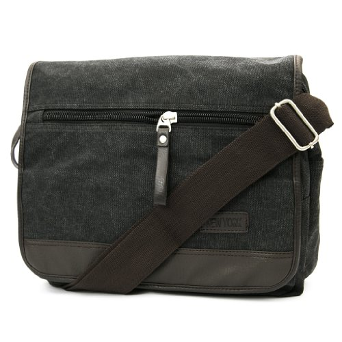 - New York Canvas Messenger Cross Body Bag Schoolbag (Black)