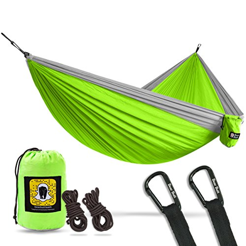 Bear Butt Double Parachute Camping Hammock, Lime Green / Gray