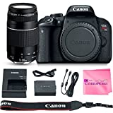 Canon EOS REBEL T7i Body SLR Digital Camera Value Bundle + Canon EF 75-300mm f4-5.6 III Lens + Camera Works Microfiber Cloth