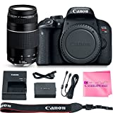 Canon EOS REBEL T7i Body SLR Digital Camera Value Bundle + Canon EF 75-300mm f4-5.6 III Lens + Camera Works Microfiber Cloth For Sale