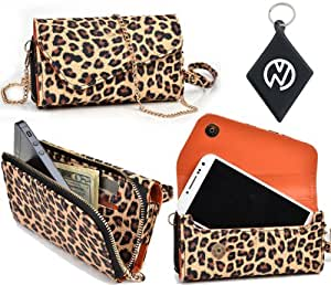 Exclusive Leopard Safari [URBAN] Phone Case Wristlet Fits HTC Wildfire CDMA + NuVur ™ Keychain (ESMLUSN1)