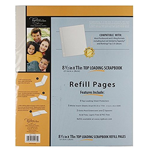 X 11 In. 8.5 In Gibson Scrapbook Top Loading Refill Pages 3 Packs of 5 Sheets C.R