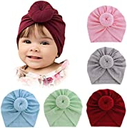 Whteian Baby Girl Hats Newborn Infant Toddlers Knotted Turbans Headband Hat with Bow Baby Kids Soft Cotton Bea
