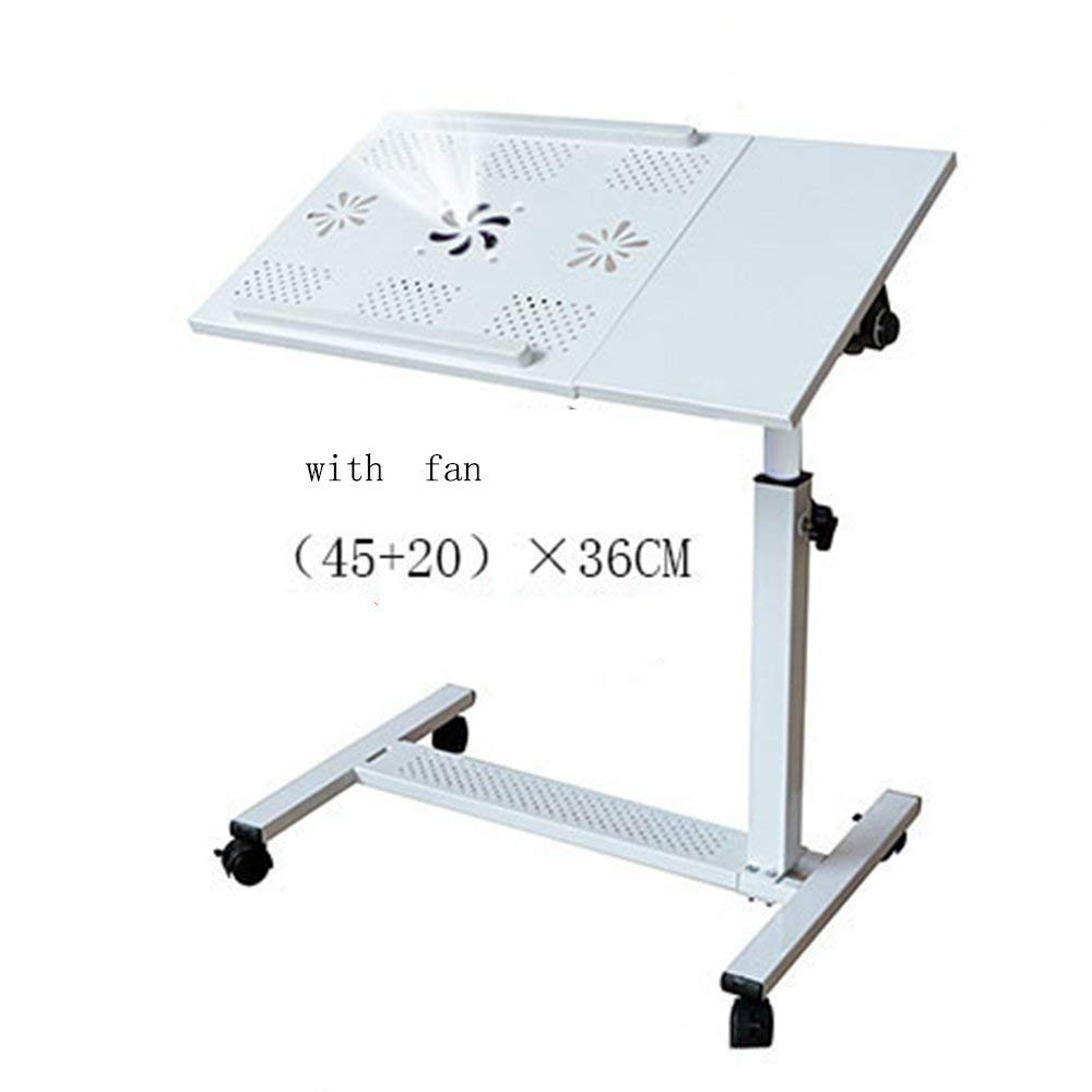 XUEXUE Practical Desk Rolling Laptop Table NotebookDesk Hospital TableLockable Casters Height Adjustable Stopper Ledge Computer Work Station Student Dorm Home Office,C