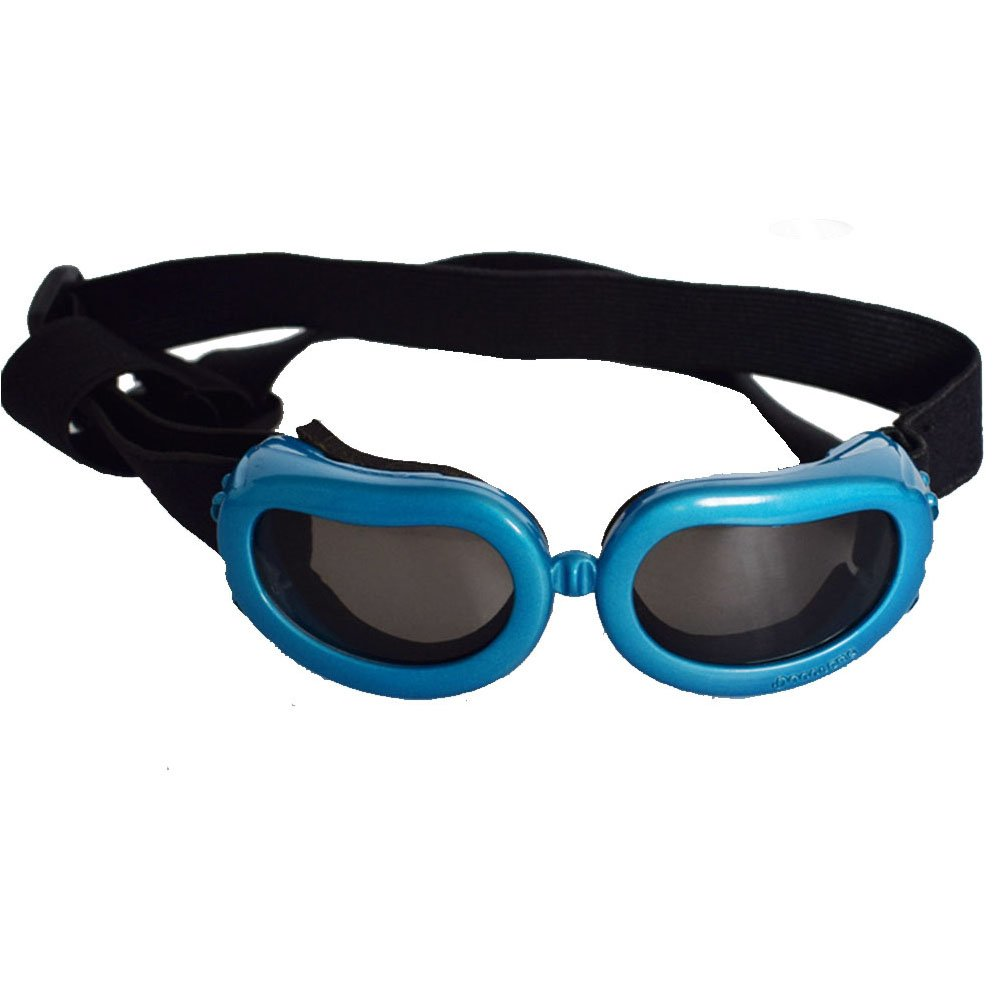 Dog Sunglasses, Doggy Goggles, Kromi UV Protection Doggie Dog Motorcycle Goggles Eyewear Pet Sunglasses for Small Medium Large Dogs (Blue, Small)