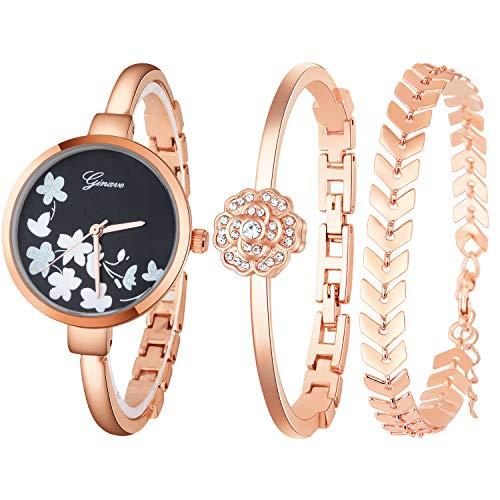 (JUMJEE Dress Bracelet Watches for Women Casual Quartz Bangle Wrist Watch Set (Rose Gold))