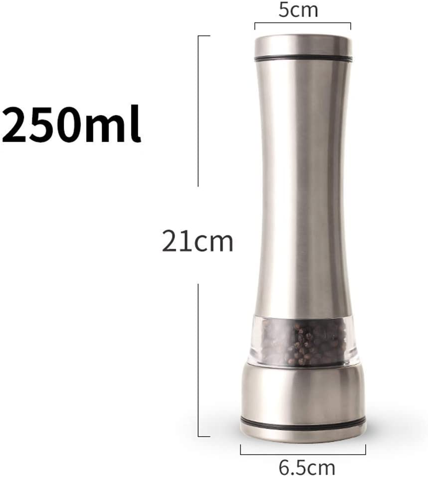 Manual GrinderSalt and Pepper Mill Set 2 pcs Adjustable Grinders Large Steel Bodies Easy Fill Brushed Stainless Steel