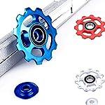 HPiano-Deragliatore-Posteriore-cerchiabordo-ceramico-11T-3-Pezzi-Argento-Rosso-Blu-Roller-Wheel-Road-Mountain-Bike-Bicicletta-Puleggia-Jockey-Puleggia-Posteriore-deragliatore