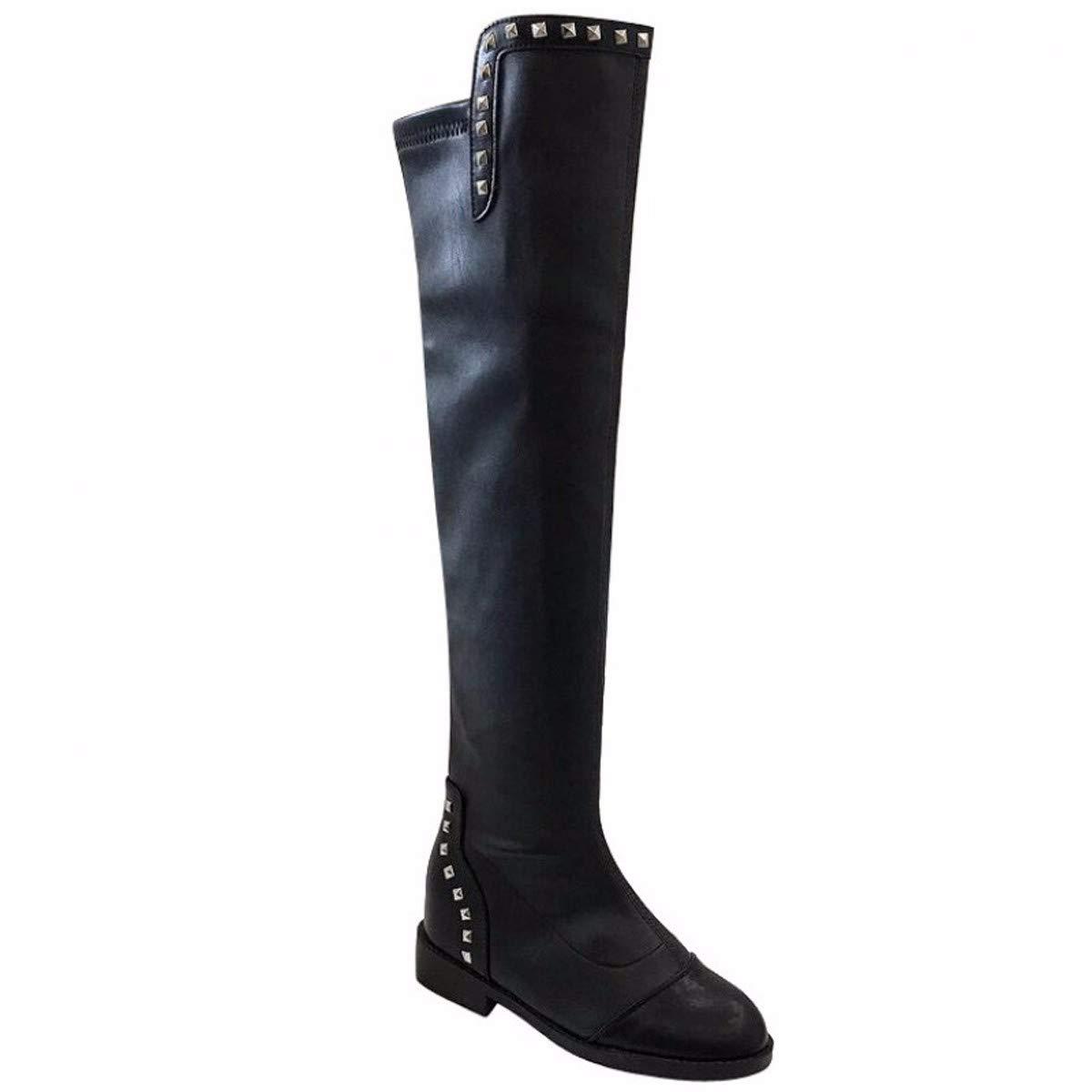 Olici Damen Kniehohe Stiefel mit 3 cm Nieten raue Heels schwarz elastisch dünne Stiefel innen