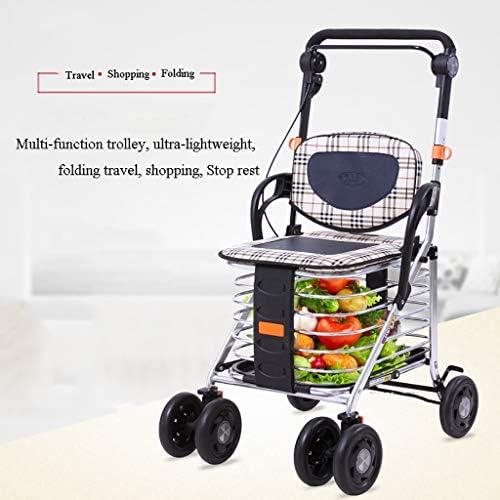 折りたたみビーチワゴン 収穫台車・キャリー 老人 折り畳み式ポータブルトロリーカート、 食料品ショッピングカート 4輪 座ることができます ウォーカー 休憩席 動く軽量トロリー、 積載量:100kg