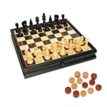 WE Games Russian Style Chess & Checkers Game Set - Weighted Chessmen & Black Stained Wood Board with Storage Drawers 15 in.