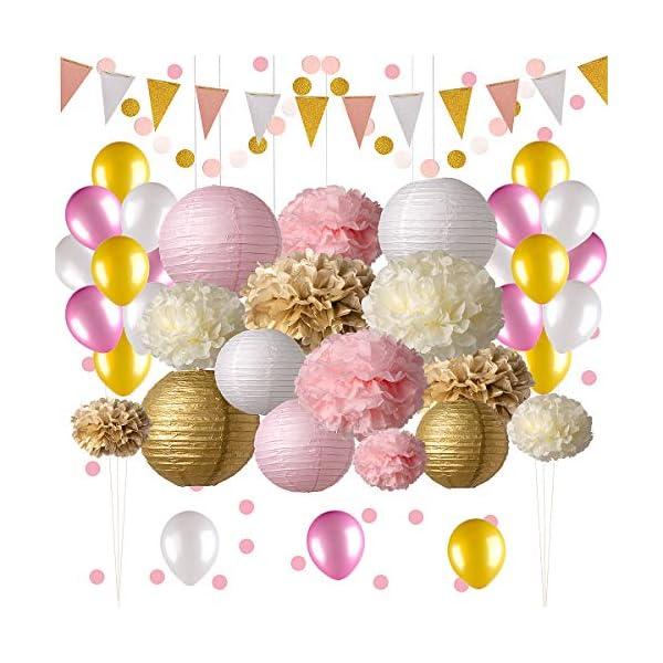 Decoraciones para fiestas de color rosa y dorado, 50 unidades de suministros para fiestas rosas, pompones de papel, faroles de papel, guirnaldas con purpurina, globos, confeti, fiesta de cumpleaños, fiesta de princesa, fiesta de bailarina, fiesta de bachelorette