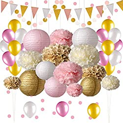 Pink and Gold Party Decorations, 50 pc Pink Party Supplies, Paper Pom Poms, Paper Lanterns, Glitter Garlands, Balloons, Confetti- Birthday Party - Princess Party - Ballerina Party - Bachelorette Party