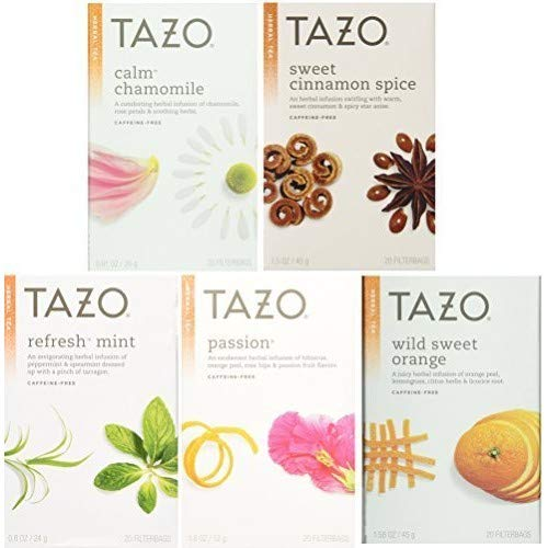 Tazo Herbal Tea 5 Flavor Variety Pack Sampler (Pack of 5, 100 Bags Total) by TAZO
