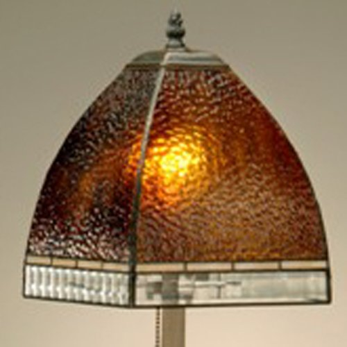 Price comparison product image J Devlin Lam 589-4 TB Tiffany Stained Glass Table Lamp Curved Root Beer Granite Glass with Clear Cross Reed
