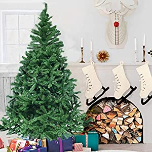 Herron Christmas Tree Artificial Premium Spruce Hinged Xmas Tree with Metal Stand for Indoors&Outdoors … (6ft) 4