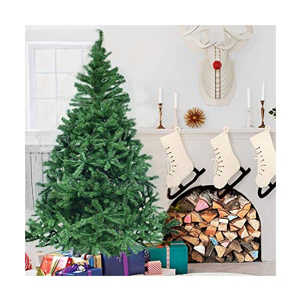 Herron-Christmas-Tree-Artificial-Premium-Spruce-Hinged-Xmas-Tree-with-Metal-Stand-for-IndoorsOutdoors–6ft