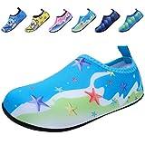 BODATU Boys' Girls' Swim Water Shoes Kids Quick Dry Barefoot Aqua Sock Shoes for Beach Pool Blue 28-29
