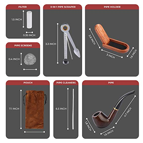 Tobacco Pipe   Pipes for Smoking Tobacco   Stylish, Cool and Distinguished Starter Pipe Kit   The Perfect Gift for a Classy Gentleman by Smokey Hollow Co by Smokey Hollow (Image #4)