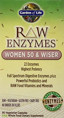 Garden of Life Vegetarian Digestive Supplement for Women - Raw Enzymes Women 50 & Wiser for Digestion, Bloating, Gas, and IBS, 90 Capsules