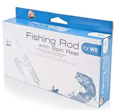 Wii fishing rod with spin cast reel video games for Wii fishing rod