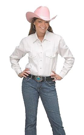 5548eb5a Sunrise Outlet Women's Button Down Cotton Western Cowboy Shirt-White-Large