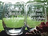 Unique Bridal Shower Wedding Engaged Couple Gift Courage and Faith Personalized 21 oz stem less wine glasses