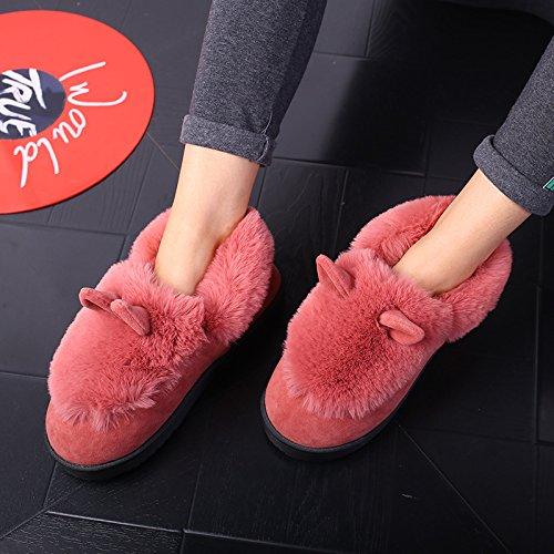 Y-Hui invierno zapatillas de algodón con bolsa caliente hombre par interiores Home Furnishing Home Anti-Skid zapatillas en invierno Skin red