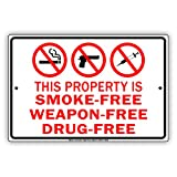 free weapons - This Property Is Smoke-Free Weapon-Free Drug-FreeNo Smoking Allowed Metal Aluminum Sign Home Decor UV Protective Coated Sign Board Display 8