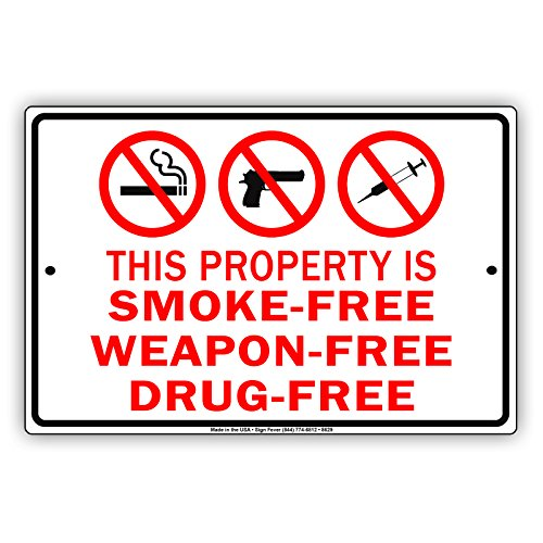 This Property Is Smoke-Free Weapon-Free Drug-FreeNo Smoking Allowed Metal Aluminum Sign Home Decor UV Protective Coated Sign Board Display 8