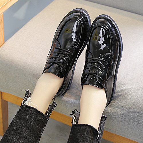 Shoes Toe Thick up Oxfords Round Shoes Glossy Comfy Black Sole Lace Fashion T Women's Retro JULY wFqIf7H