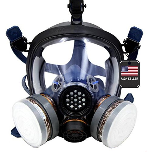 Full Face Respirator by Parcil Distribution. Double Air filter, Visor Protection, Gas Mask - Industrial Grade Quality - Pure SAFE Breathing for toxic spray, chemical pest control, painting, fires