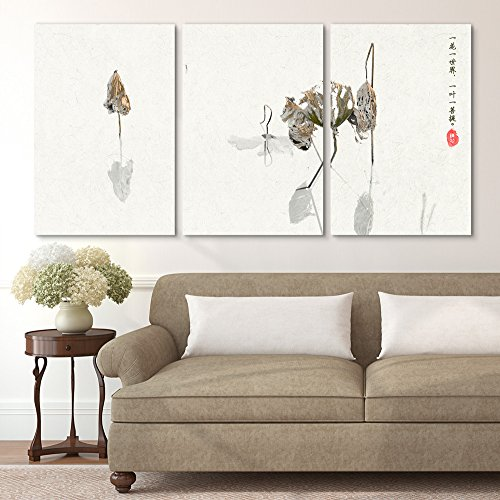 wall26-3 Panel Canvas Wall Art - Minimalism Style Chinese Painting of The Dried Lotus - Giclee Print Gallery Wrap Modern Home Decor Ready to Hang - 16