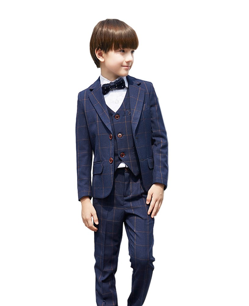 SK Studio Boys' 5-Piece Dress 2 Button Outwear Slim Fit Wedding Suits Blue