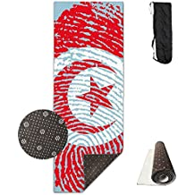 Tunisia Flag Fingerprint Printed Yoga Mat Towel Beauty Non-Slip For Bikram Yoga,Yoga And Pilates Sports Exercise 24 X 71 Inches Great Durable Mats