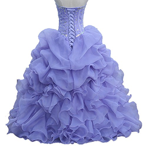 Diandiai Perles Robe De Quinceanera 2018 Volants Robe De Bal Robe De Bal, Plus La Taille Style1-lilas