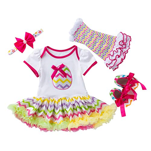 Toddler Baby Girls Happy Fun 1st Easter Outfit Bunny Colorful Eggs Print One Romper Tutu Skirt Princess Party Costume Dress Short Sleeve Bodysuit Headband Leg Warmers Shoes 4PCS Clothes set 6-12Month]()