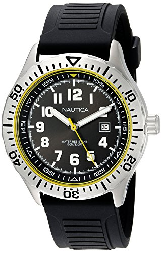 Nautica Men's 'NSR 105' Quartz Stainless Steel and Silicone Casual Watch, Color:Black (Model: NAD12538G)