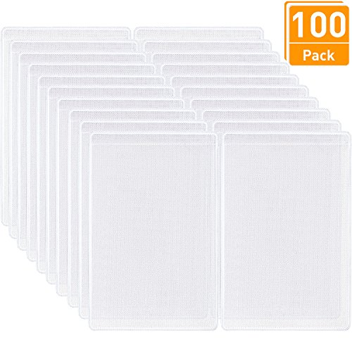 - Blulu 100 Pieces Transparent Plastic ID Credit Card Holder Vertical Business Card Sleeves Frosted ID Protector