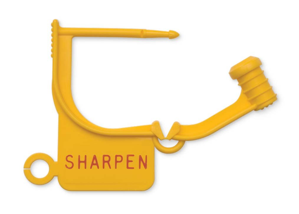 Key Surgical LT-550 Locking Tag, ''SHARPEN'', Yellow (Pack of 100)
