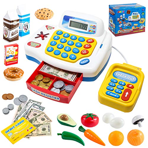Toy Cash Register Shopping Pretend Play Money Machine with Dual Languages, Scanner, Card Reader and Grocery Play Food Set for Kids Boys and Girls Gifts, Toddler Interactive Learning, Teaching ()