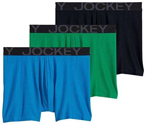 Jockey Men's Active Mesh Boxer Brief Shamrock Green/Navy/Blue Curacao X-Large