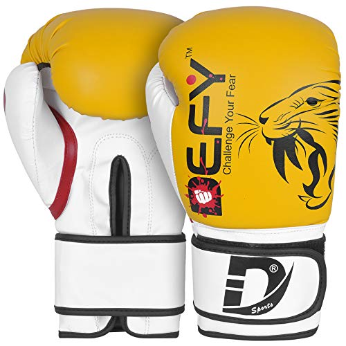DEFY Boxing Gloves for Men & Women Training MMA Muay Thai Premium Quality Gloves for Punching Heavy Bags, Sparring, Kickboxing, Fighting Gloves Tiger Model (Yellow, 16 oz)
