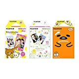 Fujifilm Instax Mini Instant Film 3-PACK BUNDLE SET , RiLakkuma Film (10) , Hello Kitty (10) , Gudetama (10) , Stickers 20 pcs. for 90 8 70 7s 50s 25 300 Camera SP-1 Printer