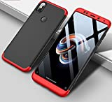 ECOSMOS  Redmi Note5 Pro / Xiaomi Redmi Note 5 Pro Case 3 in1 360º Anti Slip Super Slim Back Cover for Samsung Galaxy Redmi Note5 Pro / Xiaomi Redmi Note 5 Pro (Red and Black)
