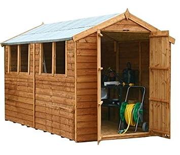 Instalado 12 x 8 valor de madera solapada jardín cobertizo con 4 ventanas y puertas dobles: Amazon.es: Jardín