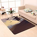 Nalahome Custom carpet or Decor Dark Soul From a Scary Movie Film on the Hills with Clouds and Flying Crows Print Black area rugs for Living Dining Room Bedroom Hallway Office Carpet (5' X 8')