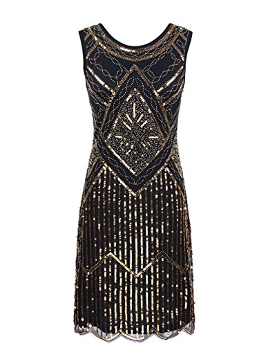 KAYAMIYA Women's 1920S Sequined Fringe Beaded Gatsby Flapper Evening Dress – Small, Luxury Gold