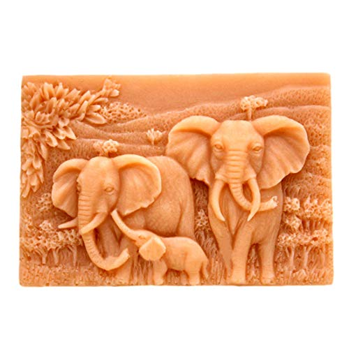 GRAINRAIN Silicone Mold Elephant Family Soap Molds Soap Making Mould Resin Mold Handmade Soap Mould Diy Craft Art Molds Flexible 1 pc