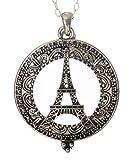 Eiffel Tower Paris 4x Magnifier Magnifying Glass Sliding Top Magnet Pendant Necklace, 30'' (Silver Tone)